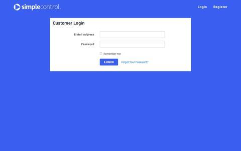 Screenshot of Login Page simplecontrol.com - SimpleControl - captured Sept. 21, 2018