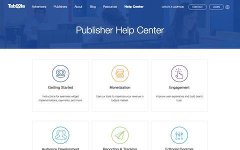 Publisher Help Center | Taboola.com