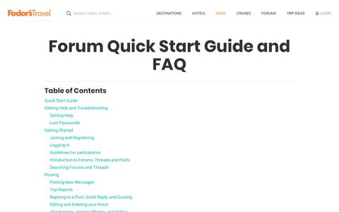 Screenshot of FAQ Page fodors.com - Forum Quick Start Guide and FAQ – Fodors Travel Guide - captured July 10, 2019