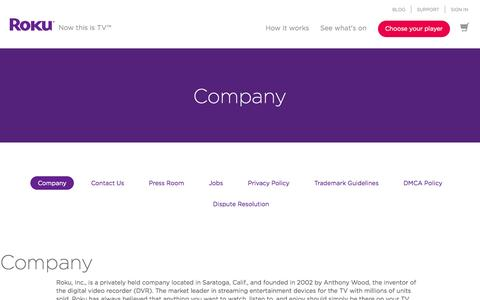 Screenshot of About Page roku.com - About Roku | Market leader in streaming media devices - captured July 3, 2015