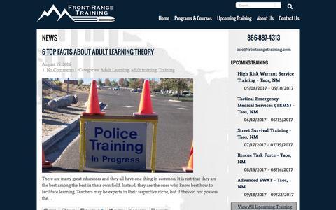 Screenshot of Press Page frontrangetraining.com - News — Front Range Training - captured Nov. 25, 2016