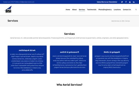 Screenshot of Services Page aerialservicesinc.com - Services - Aerial Services, Inc. (ASI) - captured July 24, 2016