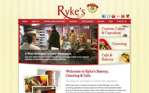 Screenshot of Home Page rykes.com - Ryke's Bakery, Catering, & Cafe - Muskegon, MI Ryke's Bakery, Catering, & Cafe - captured Oct. 6, 2014