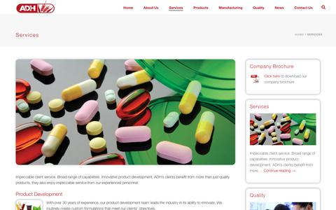Screenshot of Services Page adhhealth.com - Services – ADH Health Products, Inc. - captured Nov. 12, 2018