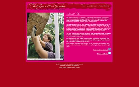 Screenshot of About Page romanticgarden.com - The Romantic Garden   Original - Sensuous - Organic   Morristown, NJ - captured Oct. 9, 2014