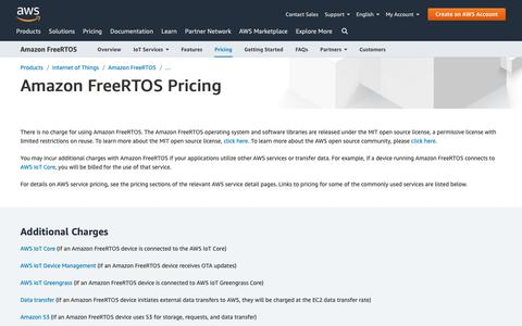 Screenshot of Pricing Page amazon.com - Amazon FreeRTOS Pricing - captured May 8, 2019