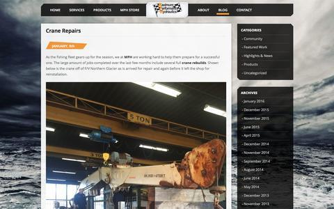 Screenshot of Blog mphyd.com - News and Press   Maximum Performance Hydraulics - captured Feb. 12, 2016