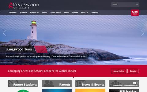 Screenshot of Home Page kingswood.edu - Homepage - Kingswood University - captured Feb. 12, 2016
