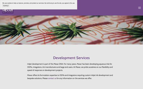 Screenshot of Services Page mexar.co.uk - Services — Mexar - industrial inkjet ink solutions - captured Oct. 18, 2017