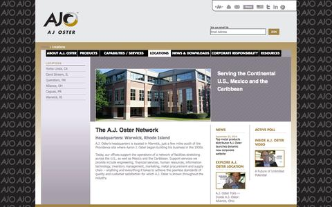 Screenshot of Locations Page ajoster.com - Metal Service Center Locations | Metal Distributors A.J. Oster - captured Oct. 29, 2014
