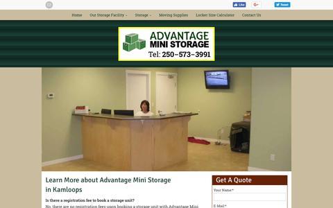 Screenshot of FAQ Page advantageministoragekamloops.ca - Renter Info Kamloops | FAQ | Advantage Mini Storage - captured Sept. 24, 2018