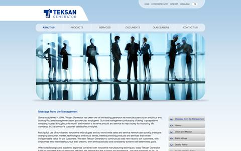 Screenshot of About Page teksangenerator.com - Teksan Generator | Message From The Management - captured Oct. 7, 2014