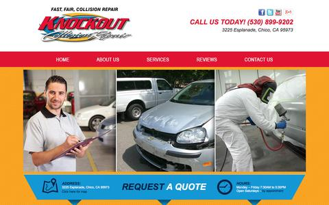 Screenshot of Services Page knockoutcollisionrepair.com - Knockout Collision Repair Paintless Dent Repair | Hail Damage | Preparation and Painting | Automotive Body and Collision Repair & Services in Chico, CA - captured Sept. 30, 2014