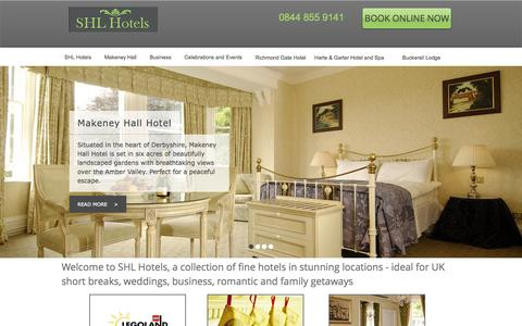 Screenshot of Home Page shlhotels.com - SHL Hotels, Short breaks UK - captured Sept. 30, 2014