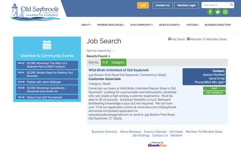Screenshot of Jobs Page oldsaybrookchamber.com - Job Search - Old Saybrook Chamber of Commerce, CT - captured Oct. 18, 2018