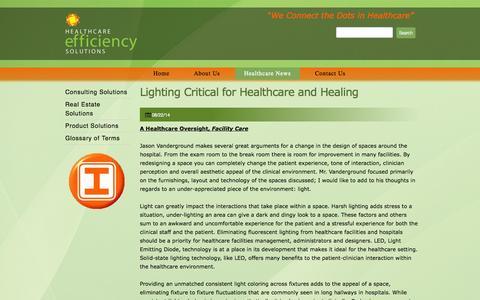 Screenshot of Press Page hcesllc.com - Healthcare News - Healthcare Efficiency Solutions - captured Oct. 1, 2014