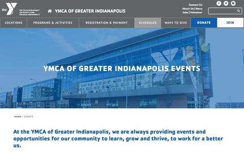 Screenshot of Hours Page indymca.org - Calendar of Events   YMCA Of Greater Indianapolis - captured Sept. 22, 2018