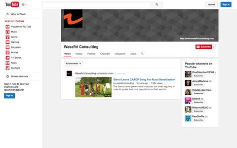 Screenshot of YouTube Page youtube.com - Wasafiri Consulting  - YouTube - captured Oct. 26, 2014