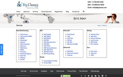 Screenshot of Site Map Page bigclasses.com - Sitemap - captured Jan. 3, 2016