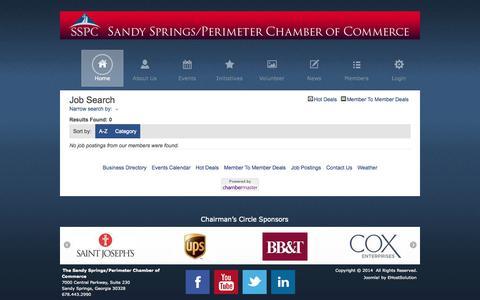 Screenshot of Jobs Page sandyspringsperimeterchamber.com - Job Search - Sandy Springs/Perimeter Chamber of Commerce - Sandy Springs/Perimeter Chamber of Commerce - captured Oct. 4, 2014