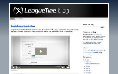 Screenshot of Blog leaguetime.com - LeagueTime Blog - captured Oct. 2, 2014