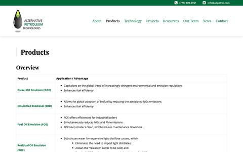 Screenshot of Products Page altpetrol.com - Products - Alt Petroleum - captured Nov. 12, 2018