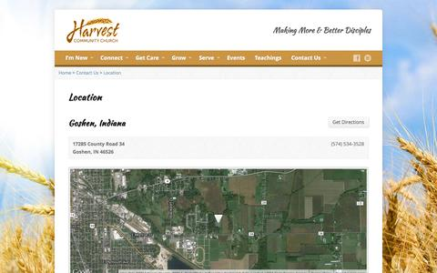 Screenshot of Locations Page hccgoshen.org - Location - Harvest Community Church - captured Oct. 2, 2014