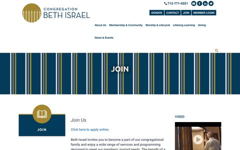 Screenshot of Signup Page beth-israel.org - Join - Congregation Beth IsraelCongregation Beth Israel - captured Sept. 29, 2018