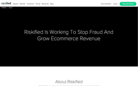 Screenshot of About Page riskified.com - About – Riskified - captured June 5, 2019