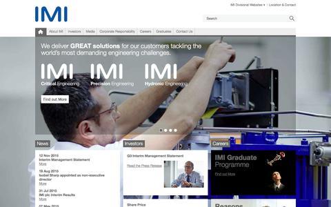 Screenshot of Home Page imiplc.com - IMI plc - captured Dec. 27, 2015