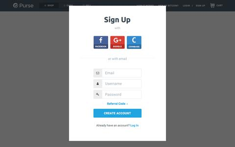 Screenshot of Signup Page Login Page purse.io - Shop - Purse - captured April 9, 2018