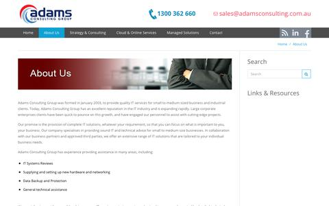 Screenshot of About Page adamsconsulting.com.au - About Adams Consulting Group - captured Oct. 7, 2017