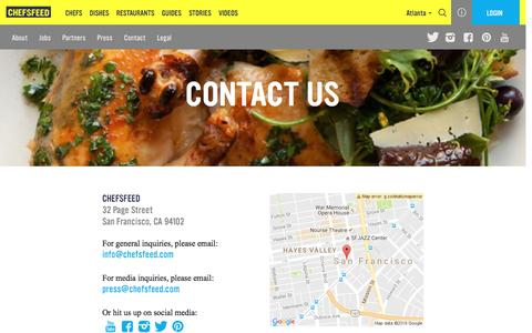 Screenshot of Contact Page chefsfeed.com - Contact Us | ChefsFeed - captured Oct. 1, 2016
