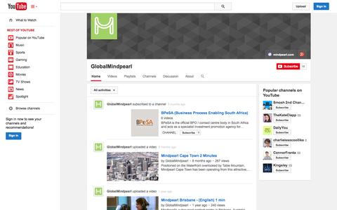 Screenshot of YouTube Page youtube.com - GlobalMindpearl  - YouTube - captured Oct. 26, 2014