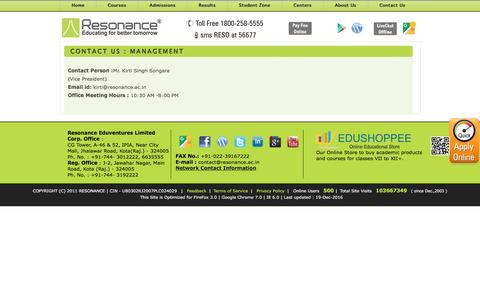 Screenshot of Team Page resonance.ac.in - Contact Us - Management - captured Dec. 19, 2016