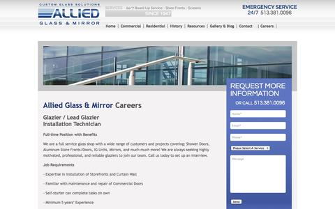 Screenshot of Jobs Page alliedglassandmirror.com - Allied Glass and Mirror | Careers - captured Nov. 2, 2014