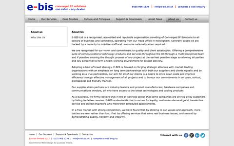 Screenshot of About Page e-bis.co.uk - About us - captured Oct. 22, 2014