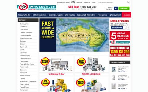 Screenshot of Home Page onestopwholesaler.com - One Stop Wholesaler - Your one stop catering equipment supplier offering a wide range of products to the Australian catering industry - captured Sept. 30, 2014