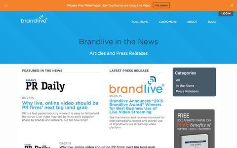 Screenshot of Press Page yourbrandlive.com - Brandlive press releases and Brandlive in the news. - captured June 16, 2015