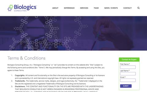 Screenshot of Terms Page biologicsconsulting.com - Terms & Conditions | Biologics Consulting - captured Oct. 10, 2017