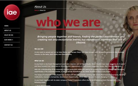 Screenshot of About Page iae.co.za - About Us | In Any Event - captured Feb. 4, 2016