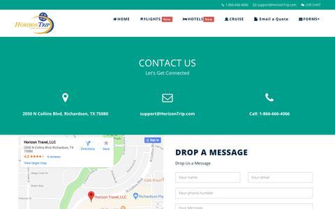 Screenshot of Contact Page horizontrip.com - Contact Us   HorizonTrip.com - captured Nov. 8, 2018