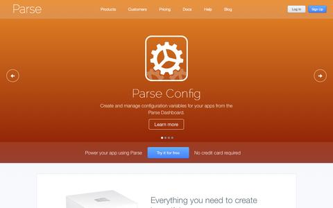 Screenshot of Home Page Signup Page parse.com - Parse - captured Sept. 17, 2014