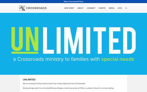 Screenshot of crossroadschristian.org - Unlimited — Crossroads Christian Church - captured March 20, 2016