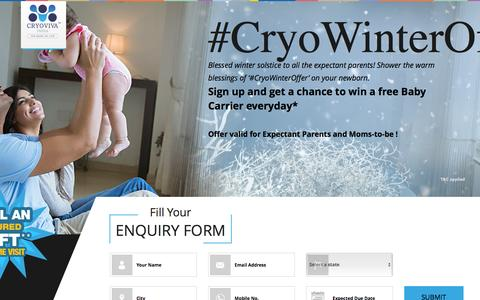 Screenshot of Signup Page cryoviva.in - Cryo Winter Offer - captured Nov. 14, 2016