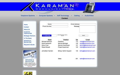 Screenshot of Contact Page karamancom.com - Karaman Communications - Contact - captured Oct. 6, 2014