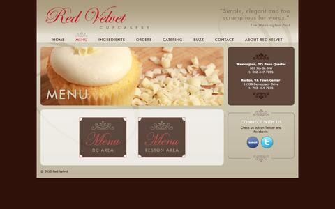 Screenshot of Menu Page redvelvetcupcakery.com - Red Velvet Cupcakery :: Menu - captured Jan. 12, 2016