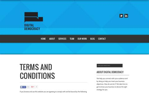 Screenshot of Terms Page digitaldemocracy.com.au - TERMS AND CONDITIONS - Digital Democracy   Social Media Strategy   Digital Marketing Consultant Sydney - captured Jan. 7, 2016