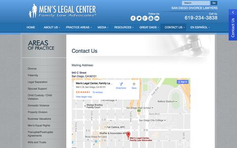 Screenshot of Contact Page menslegal.com - Contact Us | San Diego Men's Family Law | Men's Legal Center - captured Nov. 28, 2016