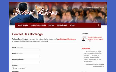 Screenshot of Contact Page danielabreo.com - Contact Us / Bookings – Daniel Abreo - captured Aug. 8, 2017